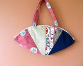 Ci Ci 1303E  Extra Large Fan Shaped Purse Made From Up Cycled, Eco Friendly Fabric Scraps