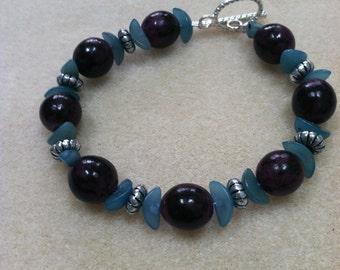 Purple and Teal Buri Seed Bracelet