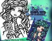 PRINTABLE Mermaid Vanessa Digi Stamp Mermaid Coloring Page Fun Fantasy Art Hannah Lynn