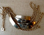 Vintage ID Bracelet Blank Nameplate with Chain & Clasp -  Gold Tone Metal - Qty 1