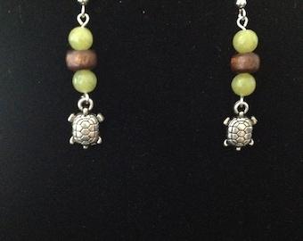 Green and Brown Wood Turtle Earrings
