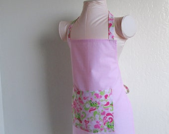 Childrens Apron - Pretty Solid Pink with Frogs of Love Leaping All Over, fun for a little chef to cook in or for creating arts and crafts