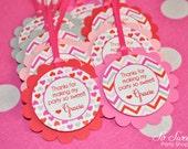 Valentine Birthday Favor Tags - Valentine's Day Birthday Party - February Birthday - Heart Chevron Birthday Decoration - Set of 12