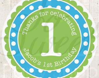 Boys 1st Birthday Favor Sticker Labels, Party Favors, Birthday Stickers, Envelope Seals, Thank You Stickers, Personalized Party - Set of 24