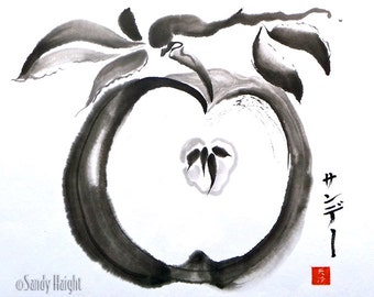 Original Sumi Painting, Apple Seeds, art. fruit, orchard, gift, brush & ink, decor, wall art, Japanese, black and white, branch, unframed