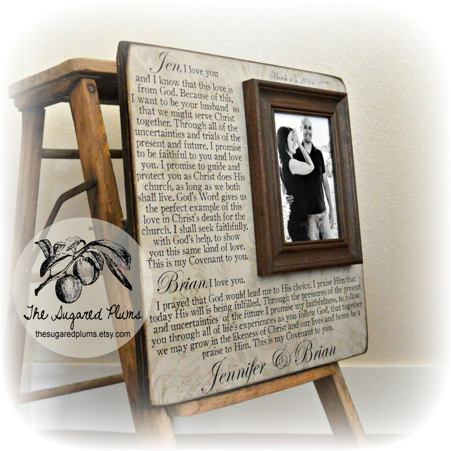 Wedding Vows Framed Wedding Vows Unique Wedding Gift