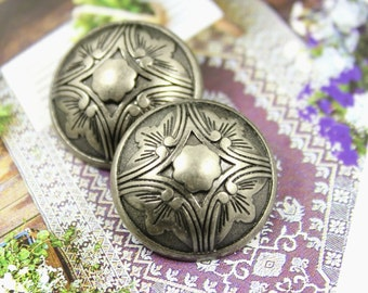 Metal Buttons - Damascus Flower Metal Buttons , Nickel Silver Color , Shank , 1 inch , 6 pcs