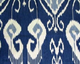 BANSURI IRIS blue Ikat linen fabric by KRAVET