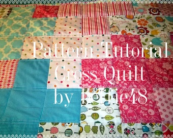 Cross or Plus Sign Baby or Lap Quilt Pattern Tutorial w photos, pdf