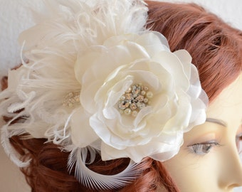 MADE TO ORDER,Flower and Feather fascinator,Rhinestones and pearls,1920s flower with Feathers, Rose Magnolia hair flower, Couture flower