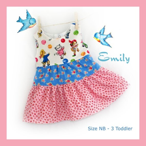 Instant Download PDF Sewing Pattern Infant Baby Toddler Girl Dress  Size NB 3 6 9 12 18 24 Months 3 Toddler