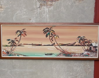 South Pacific Beach Scene Sofa-Sized Painting in Pink Green Hues Carlo of Hollywood