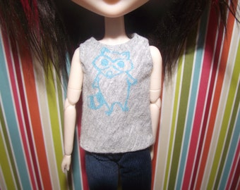 Grey gray with raccoon tank top for pullip