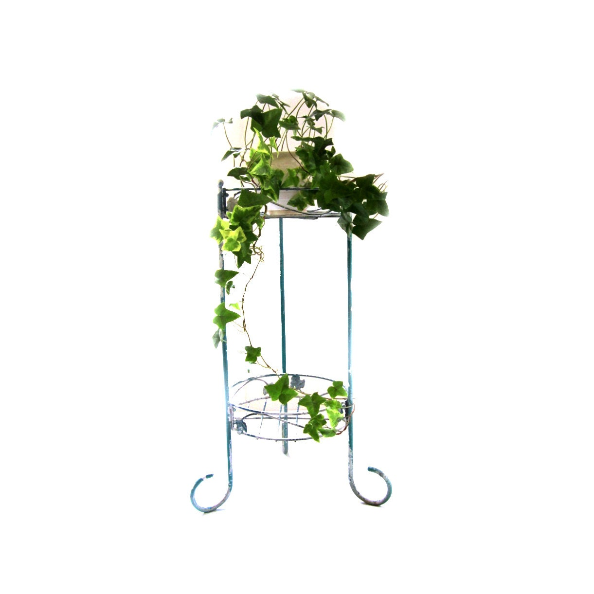 Vintage wrought and metal 2 tier plant stand shabby chippy - Tiered metal plant stand ...
