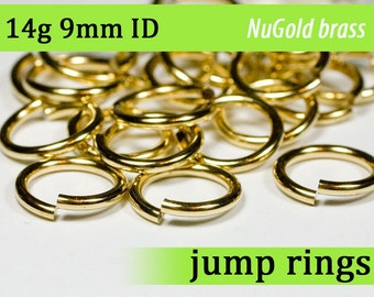 14g 9.0 mm ID  NuGold brass jump rings -- 14g9.00 open jumprings