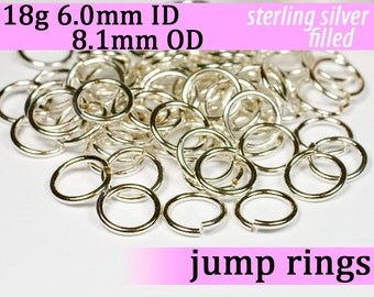 18g 6.0mm ID 8.1mm OD silver filled jump rings -- 18g6.00 open jumprings