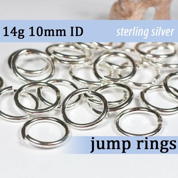 14g 10.0mm ID sterling jump rings -- 14g10.00 silver 925 jumprings links