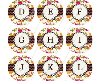INSTANT DOWNLOAD-Bottlecaps-1 inch circle-Alphabet plus EXTRAS