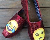 Laughing Emoji Toms Frowning Emoji Glitter Toms Custom Shoes TOMS Shoes Hand Painted Smiling Emoji