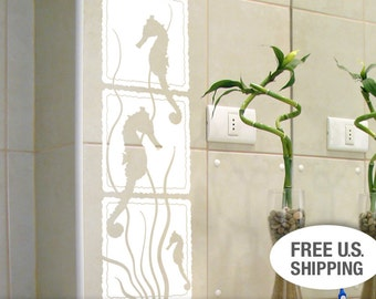 Seahorse White Bathroom Wall Decor - Bathroom Beach Decor - Bathroom Wall Decor - Under the Sea Decal