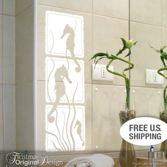 seahorse white bathroom wall decor bathroom beach decor. Black Bedroom Furniture Sets. Home Design Ideas