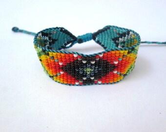Huichol Inspired Beaded Geometric Mandala Bracelet, Original Design 14, Dark and Golden Center