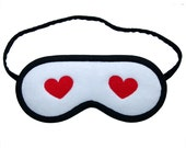 Blindfolds set for couple, 2 Heart sleep masks white black, Gift for marriage, Bride & groom, Wife and husband sleeping eye mask, His hers