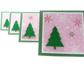 Mini Christmas Note Cards Set of 4, Season's Greetings Notes, Christmas Gift Tags, Christmas Card Set, Pink Christmas