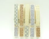 Gold and Silver Glitter  Washi Tape Clothes Pins, Party Supplies, Washi Decorations, Set of 5 Clothes Pins