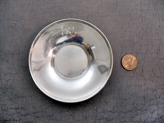 """Small Sterling Silver Dish Duhme """"K"""" Monogram"""