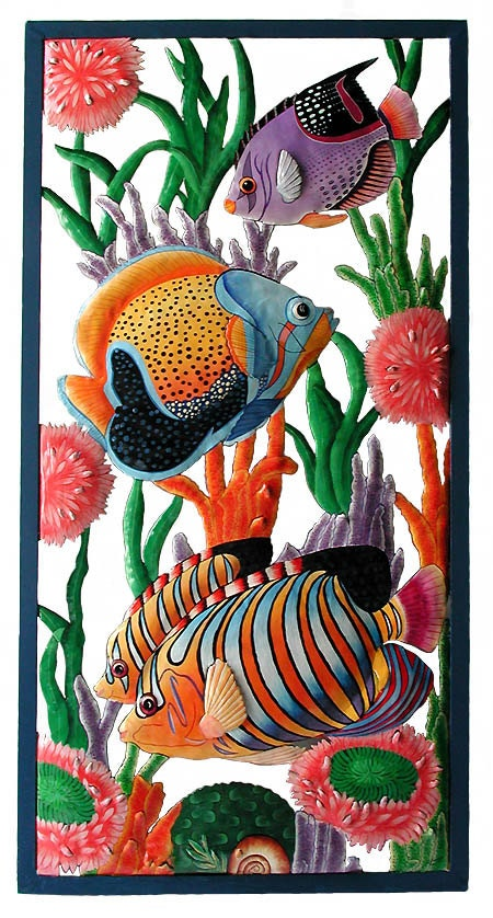 Metal art tropical fish wall hanging outdoor metal wall art for Tropical metal wall art