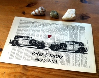 White Oldtimer Sweet Love Valentine Wedding Engagement Anniversary Gift Personalized Art Print on Antique 1896 Dictionary Book Page