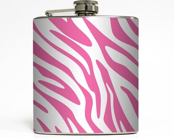 Custom Color Zebra Flask Collection Girls Animal Print Sorority Bridesmaid Gift Stainless Steel 6 oz Liquor Hip Flask LC-1017