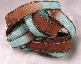 Hand Dyed Silk Ribbons - Crinkle Hand Painted Silk Jewelry Bracelet - Fairy Ribbons - Chocolate Aqua - Quintessence