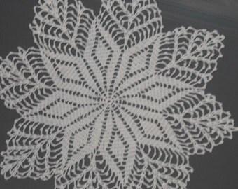 Sale!  Vintage Framed Doily Crochet Blue Snowflake