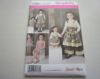 Pattern Girl and Doll  Matching Outfits 3 Styles Girl sizes 3 to 8 Simplicity 1793