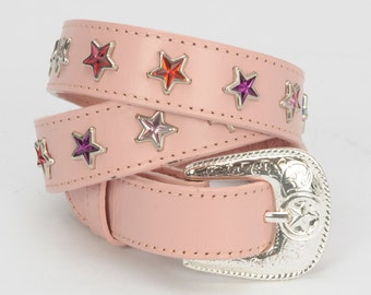 Pink Leather Western Belt with Studded Stars