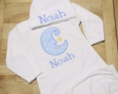 Moon Applique Infant Boys or Girls Gown and Hat Baby Layette Set