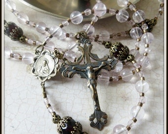 Pink Quartz Rosary Beads w/ Sacred Heart of Jesus Centre in Bronze w/ Ornate Bead Caps, Flexible Strung Cable Rosary