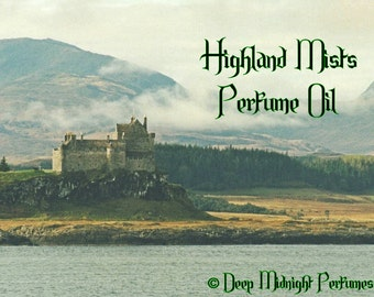 Highland Mists Perfume Oil - Outlander inspired - Oakmoss, smoked peat, heather, woods, ozone - Scotland