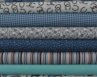Roundup! Blue 8 Fat Quarters Bundle by Samantha Walker for Riley Blake, 2 yards total