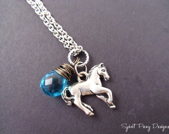 Horse & Crystal Drop Necklace-Your Choice of Color