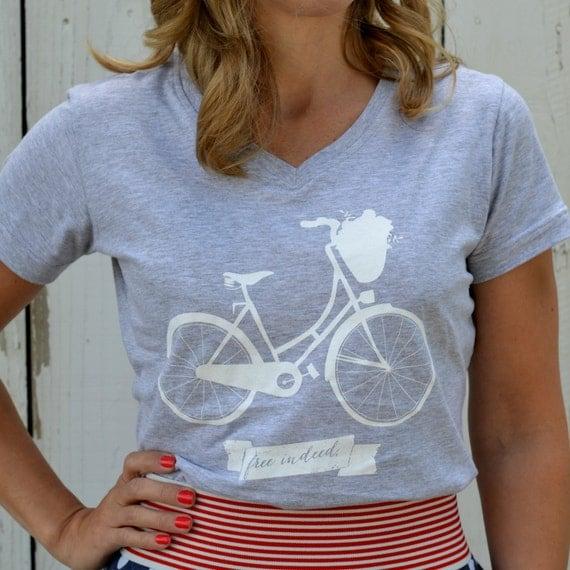 Women's, SIZE SMALL, gray, free indeed, bike, adoption t shirt