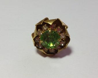 Green Rhinestone Sparkle Ring