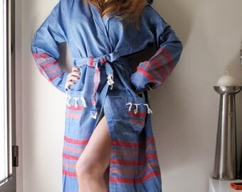 Unisex BATHROBE Soft Natural Cotton Turkish Bathrobe Bath Beach Robe Eco Friendly For Her Him Kimono Men Women Robe Hospital Gown