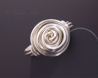 Sterling silver wire wrapped rose ring size 6ish