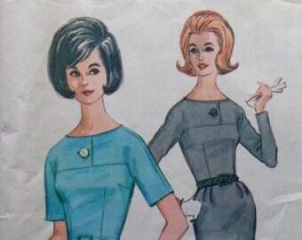 60s Buttoned Yoke Dress Pattern McCalls 6881 Wiggle Skirt Box Pleat Pattern Bust 32 Size 12 UNCUT