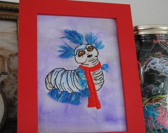 Ello - The Creepily Cute Worm From Labyrinth - Mixed Media Art