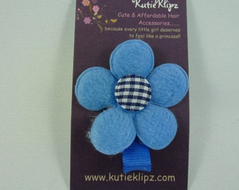 NEW - Gingham Denim Blue and white Flower Hair Clip....99cents Hair Accessory