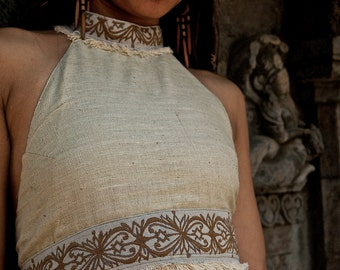 ON SALE Natural Beauty Raw silk Top with embroidery Ornament